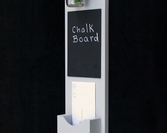 Mail Organizer - Mail Holder - Letter Holder - Mail and Key Holder - Mail Sorter -Key Hooks - Chalkboard