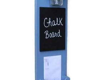 Mail Organizer - Mail Holder - Letter Holder - Mail and Key Holder - Mail Sorter -Key Hooks - Chalkboard
