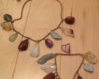 Gemstone Wire Wrapped Necklace Set 12k Gold Filled
