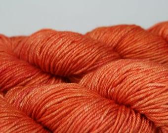 Tangerino - Lotus BFL silk DK hand dyed yarn orange knitting kelpie fibers