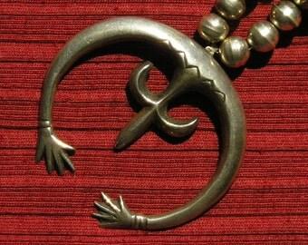 Navajo Sandcast Sterling Silver Naja Bench Bead Necklace