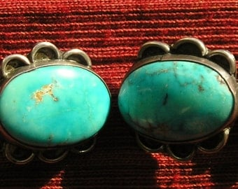 Southwest Sterling Silver Turquoise Cuff Links