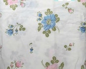 Full Vintage Flat Sheet with Pink and Blue Shabby Floral