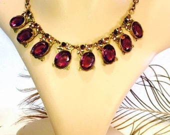 Scorpio Birthday SALE Beautiful Art Nouveau Art Deco Facetted Purple Czech Glass Enamel flower Vintage Necklace Art Nouveau Jewelry