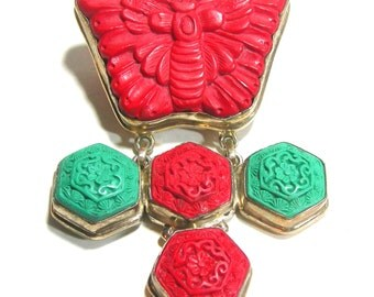 Bold and Beautiful Chinese Carved Red and Green Cinnabar Butterfly Moth Symbol Sterling Silver Pendant