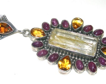 Bold and Beautiful Soms Rutilated Quartz Citrine Ruby Sterling Silver Vintage Pendant