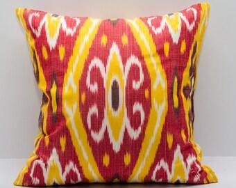 red and yellow 20x20 ikat pillow cover, ikat pillows, ikat cushions, red yellow pillow cover cushion case, design pillow uzbek ikat, fashion