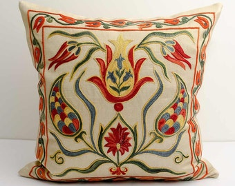12x12 fully silk handmade embroidery suzani pillow covers, a great quality uzbek suzanis, green suzani pillow suzani pillows ethnic pillows