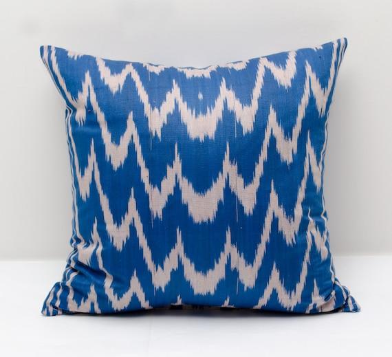 15x15 Throw Pillow Cover : 15x15 blue ikat pillow cover decorative pillows throw