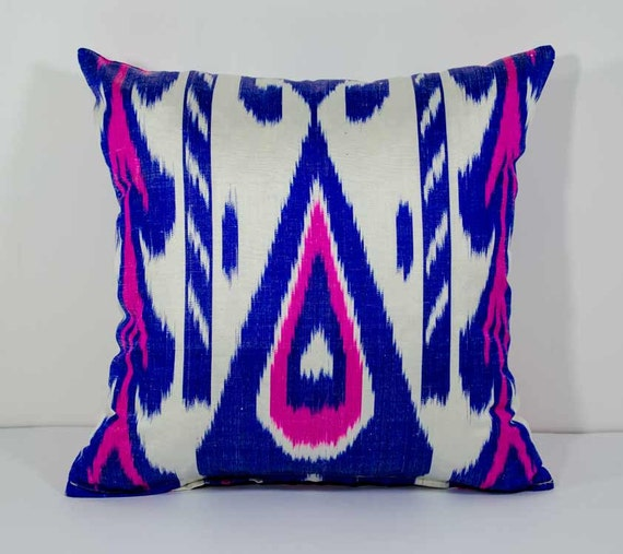15x15 Throw Pillow Cover : 15x15 blue pink ikat pillow cover cushion case blue white