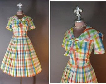 50s dress 1950s vintage COLORFUL COTTON rainbow gingham check full skirt party dress