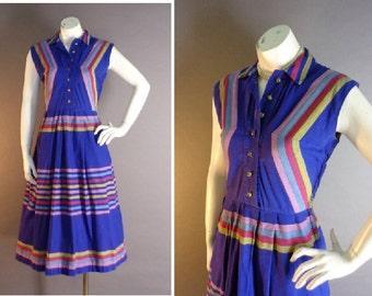 50s dress 1950s vintage PURPLE CHEVRON STRIPE pink aqua yellow cotton full skirt dress