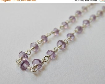 Light Amethyst Necklace - Sterling Silver Beaded Rosary Necklace Beadwork Necklace Faceted Rose de France Amethysts