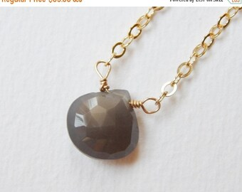 Gray Moonstone Necklace - Gold Filled Necklace Briolette Necklace Teardrop Necklace Pendant Necklace Beaded Necklace Beadwork Necklace