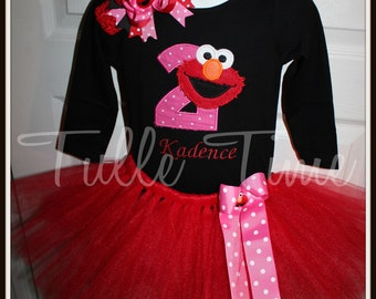 1st  2nd or 3rd Embroidered Elmo Long Sleeved top with tutu birthday dress  12m 18m 2t 3t