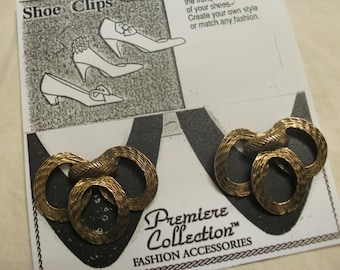 Shoe Clips Three Textured Gold Tone Metal Oval Rings FREE SHIPPING