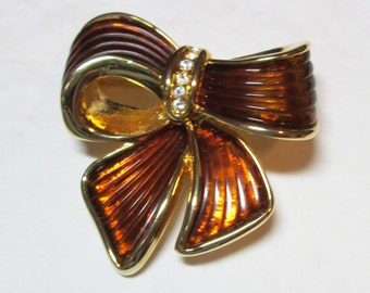 Brown Bow Brooch marked Joan Rivers