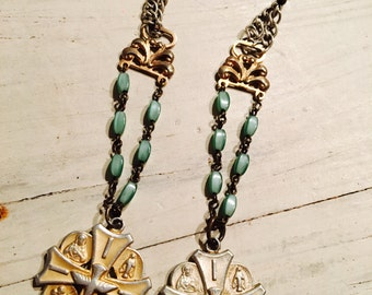 Rosary and holy medal earrings