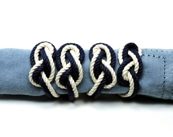 Nautical Figure Eight Infinity Knot Napkin Rings Navy and White Rope Set of 4
