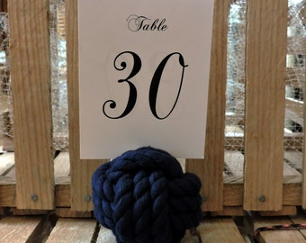 Navy Blue Nautical Wedding Rope Knots 10 Table Number Holders for your Seaside Wedding Navy Rope
