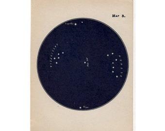 1910 mini constellation figures original antique celestial astronomy print -  map 3
