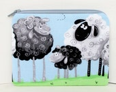 Notions Bag, Small Zipper Pouch , Sheep in the Meadow, Lewe the Lamb