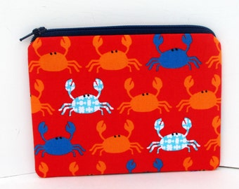 Don't Be Crabby, Small Zipper Pouch, Red Crab Coin Purse