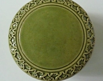 Stoneware Pottery Hand Carved  Lidded  Jar  Green Flower Design Jewelry Box