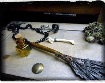 THE WITCH'S Pantry. Black Kyanite Besom Occult Necklace Genuine Bone Mini Glass Bottle Black Cauldron & Frog Charm. Spellbinding Enchantment