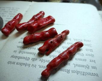 destash Red Sea Coral Sticks Natural Rustic Bohemian Freeform Stick Beads jewelry supplies