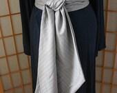 Winter Sale 15% Off!!! under 50,  Obi Like Dominantic Belt in light grey with stripes