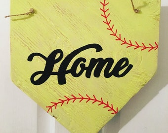 Home Sign - Softball wooden door sign, wall hanging - Home Plate, great gift for Dad, Mom, coaches etc! Home sweet home