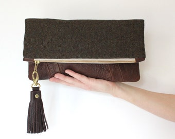 ELODIE leather clutch, fold over clutch in brown and gold
