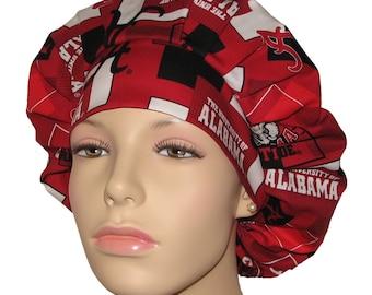 Scrub Hats - University Of Alabama Crimson Tide Modern Block Print Fabric