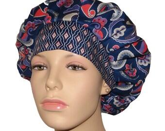 Scrub Hats - Navy Paisley Please