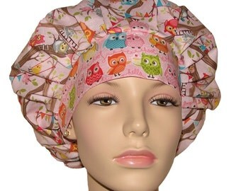 Scrub Hats - Owls and Critters Tree Party Pink