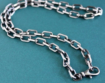 Mens Silver Chain Necklace, Mens Large Link Cable Chain