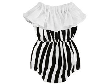 Organic Cotton Black & White Striped Baby Girl Ruffle Bubble Romper - Strapless Vertical Stripes Bubble