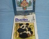 Lot of 2 Vintage Needlepoint Kits Bucilla Panda & Jiffy Welcome