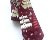 Little Guy Holiday NECKTIE Tie - Maroon Trees - (2T-4T) - Boy Toddler - (Ready to Ship) Christmas
