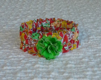 """Christmas Cookies Dog Scrunchie Collar with green puff flower: Size S - 12"""" to 14"""" neck"""
