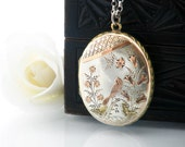 Antique Locket | Victorian Locket | Sterling Silver, Rose Gold Bird, Flowers | Large Oval Locket | Aesthetic Period - 32 Inch Sterling Chain