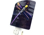 Night Light, Purple Stained Glass with Dragonfly, Large
