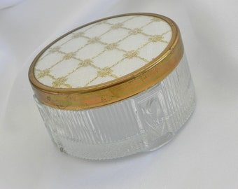 Glass Powder Jar, Jewelry Box or Trinket Box with Gold Metallic Thread and Off White Fabric Lid