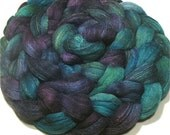 Hand dyed Polwarth & tussah silk roving 4.9 oz Jupiter - dyed top spinning and felting fiber - hand painted combed wool top