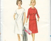 UNCUT 1960's Butterick Pattern No. 4059 - A-Line Dress with High Neckline and Shaped Jacket , Office Dress Suit  Bust 32