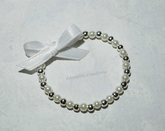Small Dainty White Pearl Bracelet With Satin Bow