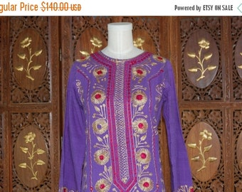 ON SALE 1970s Purple Embroidered Maxi Boho Hippie Caftan Sz XS