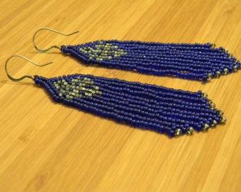 Cobalt Blue Seed Bead Earrings