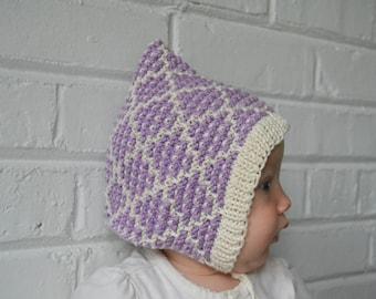 Knitting Pattern - Baby Bonnet - Gnome Mosaic Baby Bonnet - Elf - Pixie